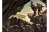 洞窟に遺体を捨てるホモ・ナレディを描いた想像図。こうした高度な行動をとる原始的な人類はほかに知られていないが、「なぜそこに骨があるのか、別の理由が思いつきません」と、調査を率いた古人類学者のリー・バーガーは言う。