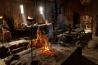 デンマークのリーベ・バイキング・センターに復元された「ロングハウス」と呼ばれる住居で、案内役の人々が当時の暮らしを再現。ニシンの塩漬け、大麦のかゆ、ゆでた羊の頭などを食べたと考えられている。