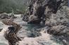 岩に歴史が刻まれた京都の川下り