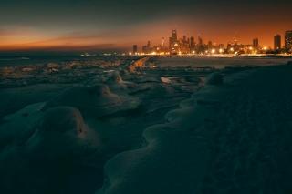 大寒波に襲われたシカゴの街