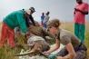 南アフリカの北西州にある狩猟用の牧場で、獣医が雌のシロサイに麻酔をかけて角を切りとる。サイの角は、羊毛や、鳥の羽やくちばし、ウマの蹄にも含まれるケラチン質でできているので、2年ほどで元通りになる。