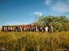 儀式の場へ木を運ぶオグララ・ラコタ族の男たち (米国サウスダコタ州)